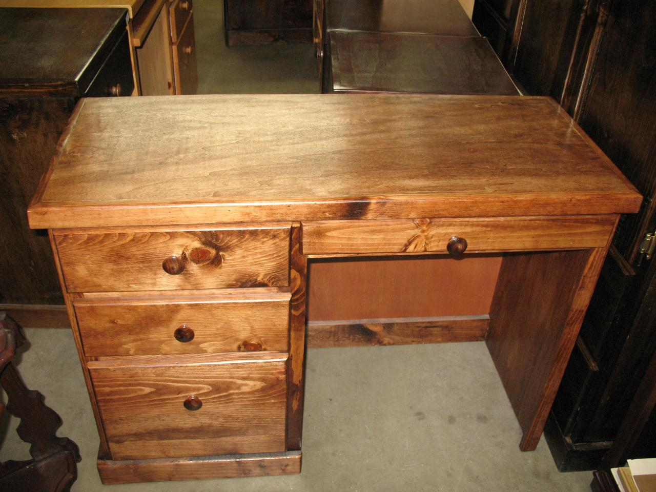 ... Pine Desk 3 Drawer   Dark Honey Stained   42w X 20d X 30h ...